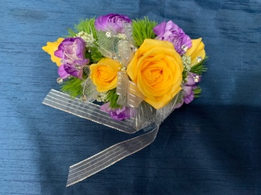 Yellow and Purple Wrist Corsage