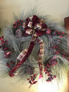 "24"" Frosted Long Needle Pine Wreath with Burgundy Berries"