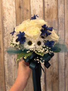 Cream and Blue Bouquet