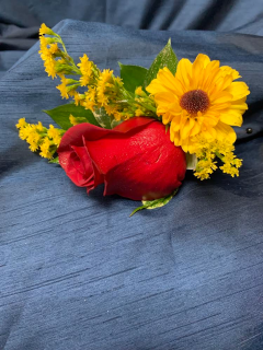 Red and Yellow Boutonniere