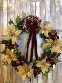 "32"" Wreath with Gold Glitter Poinsettias"