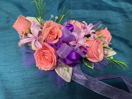 Pink and Purple Wrist Corsage