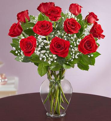 medium stem red roses