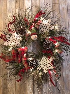 "20"" Twig and Snowflake Wreath"