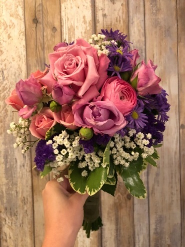 Pink and Purple with Greens Bouquet