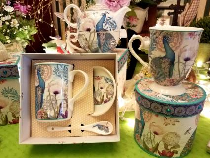 Paisley Peacock Porcelain tea set