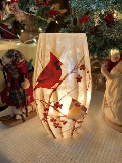 Cardinal  male and female Light up Vase