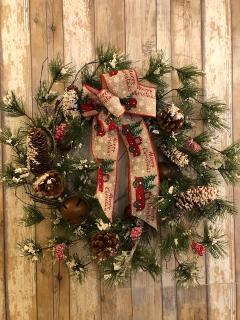 "20"" wreath with rustic bells and pine cones"