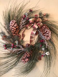 "24"" Long Needle Pine Wreath with Ice Crystals"