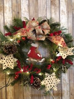"24"" Country Ice Skate Wreath"