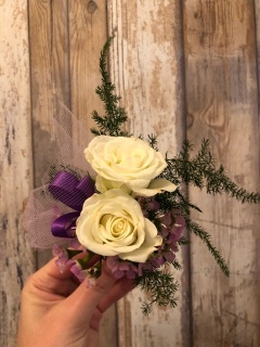 White and Purple Boutonniere