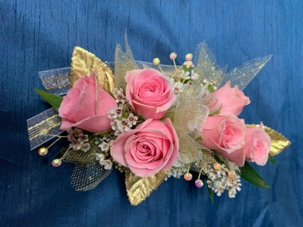 Pink and Gold Wrist Corsage