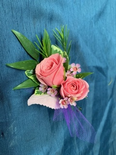 Peach and Purple Boutonniere
