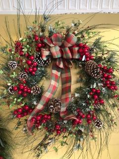 "30"" Wreath with snowy pine cones and berries"